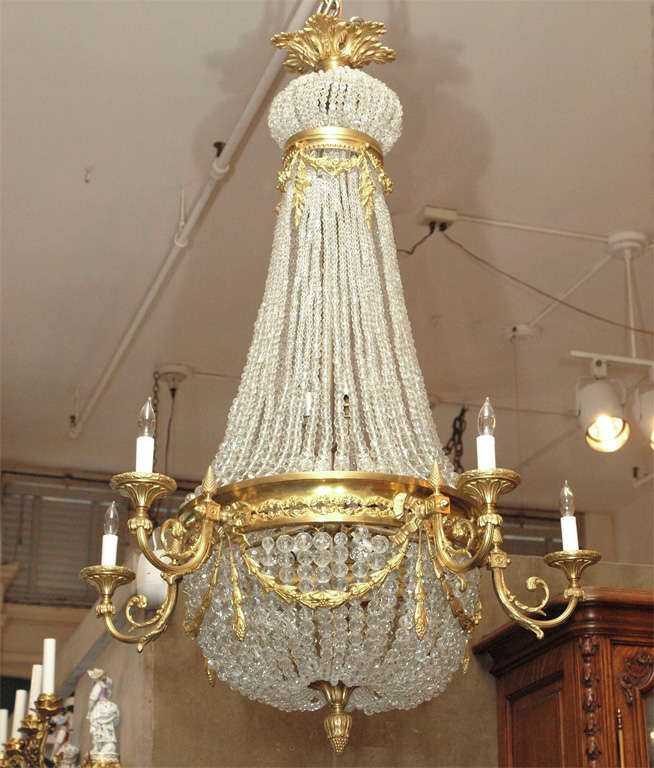 """Antique French """"Directoire"""" domed chandelier."""