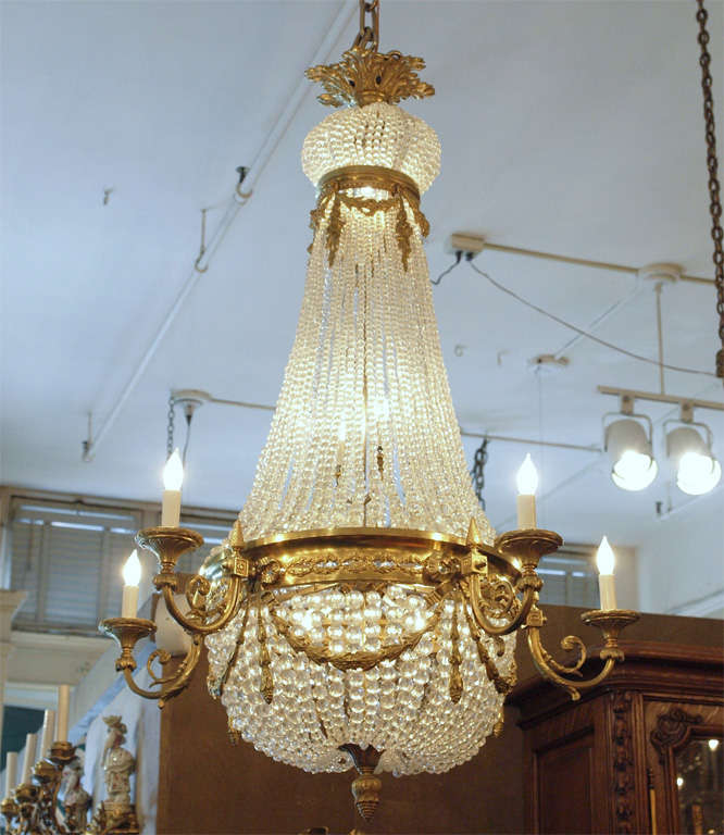 "Antique French ""Directoire"" Domed Chandelier 10"