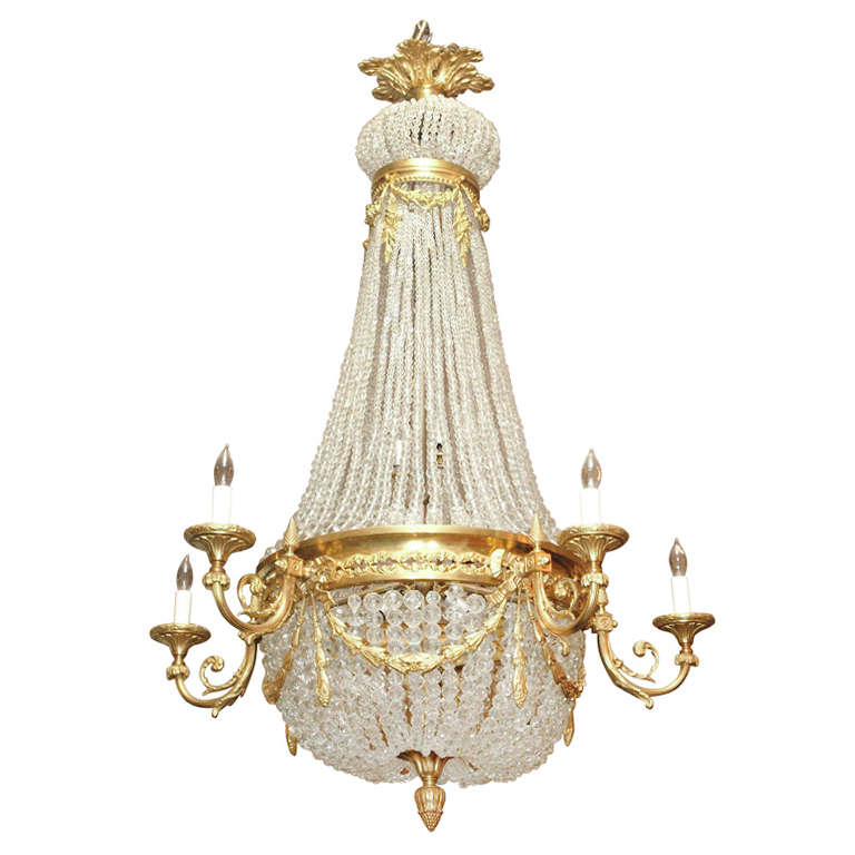 """Antique French """"Directoire"""" Domed Chandelier For Sale"""