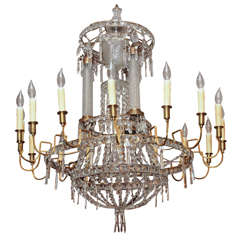 Russian Neoclassical Gilt Bronze And Crystal Chandelier