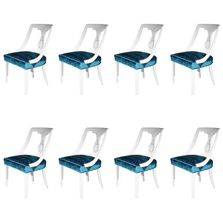 Set of Eight Hollywood Regency Dining Chairs
