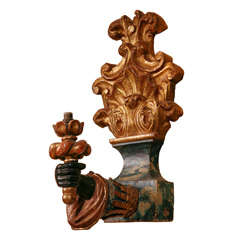 Pair of wood carved 19th century wall lights