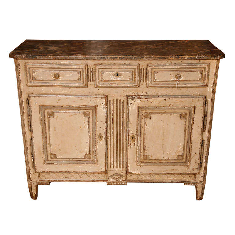 A 19th century French grey painted Neoclassical cupboard with a marbled top