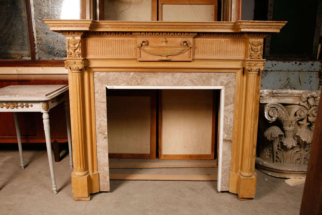 A 19th C. French carved pine fireplace / mantel piece in ...