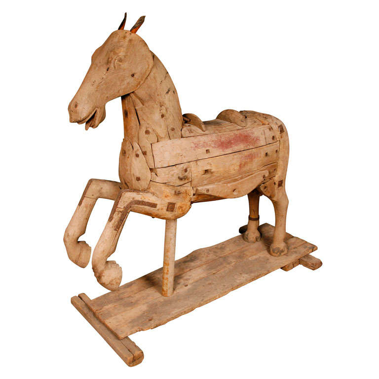 Antique wood carved horse at stdibs