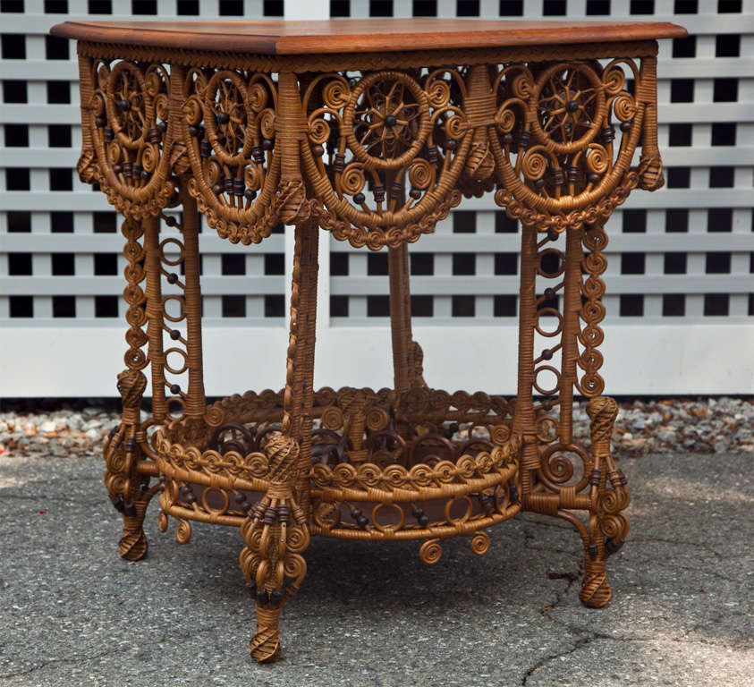 Spectacular Antique Victorian Wicker Table 2