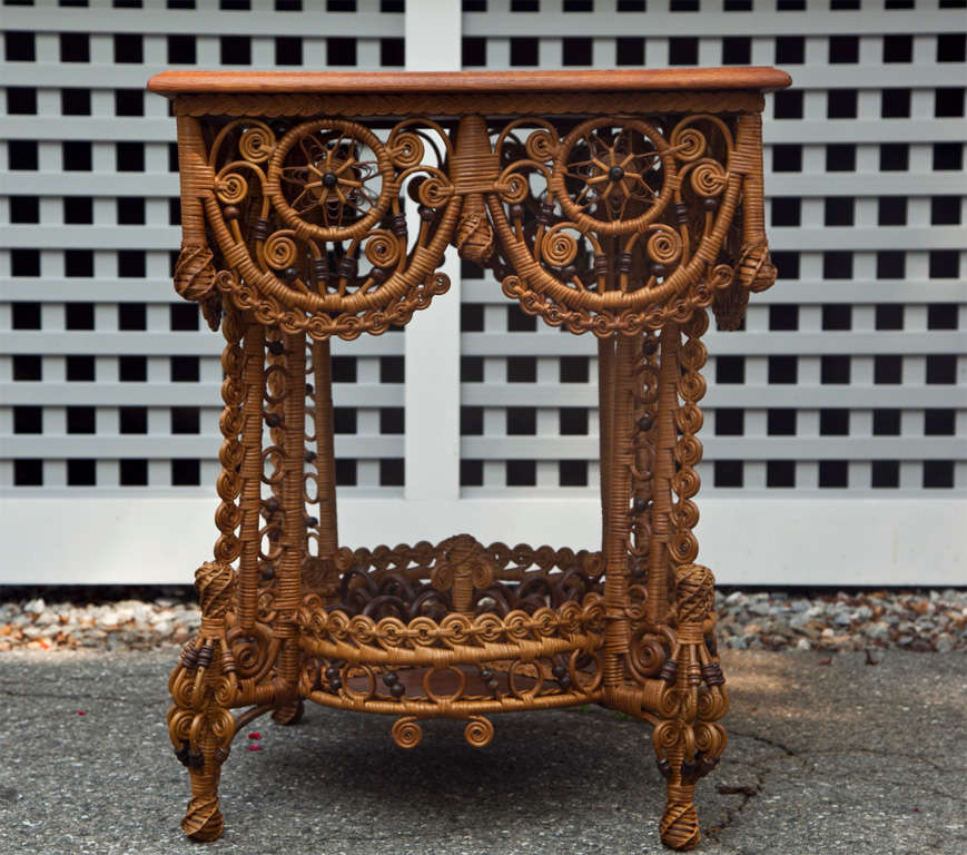 Spectacular Antique Victorian Wicker Table 5