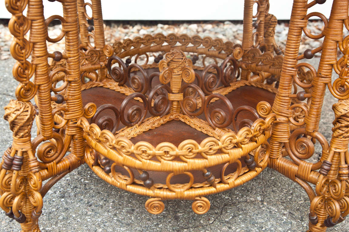 Spectacular Antique Victorian Wicker Table 9