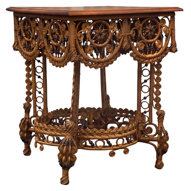 Spectacular Antique Victorian Wicker Table 1