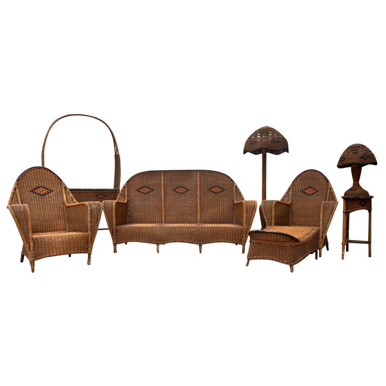 Rare Antique Deco Wicker Set For Sale At 1stdibs