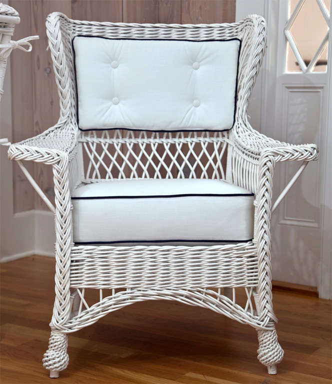 Antique Heywood Wakefield Wicker Wing Back Chairs At 1stdibs