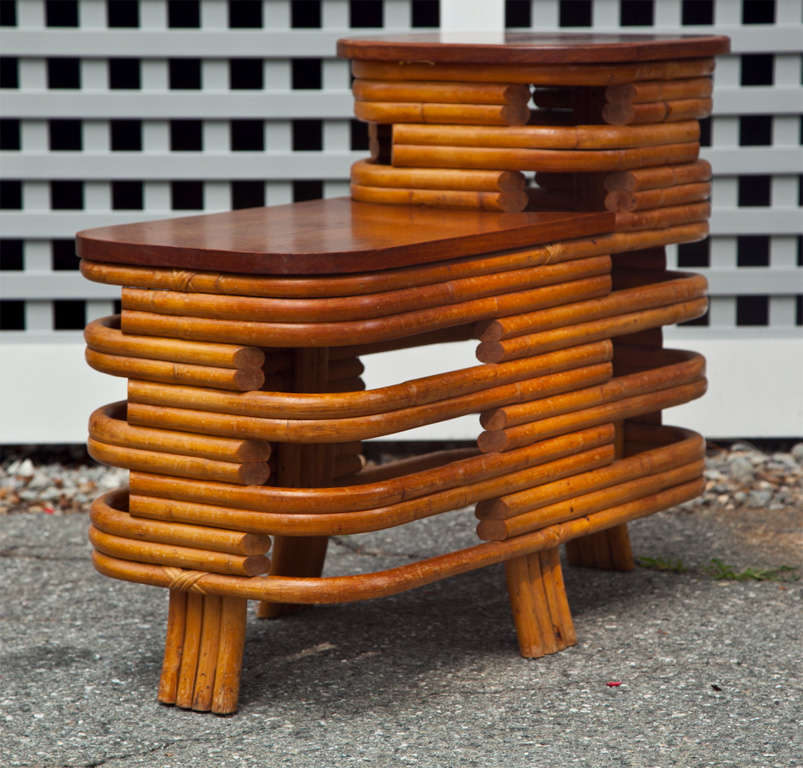Two tiered rattan banded end table in original finish.