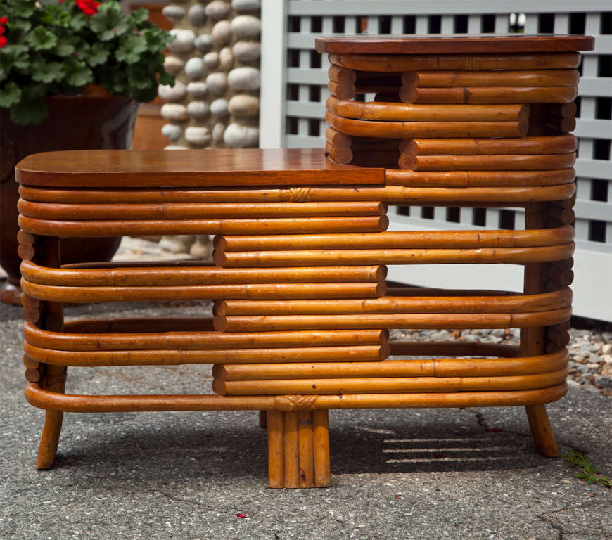 American Rattan End Table For Sale
