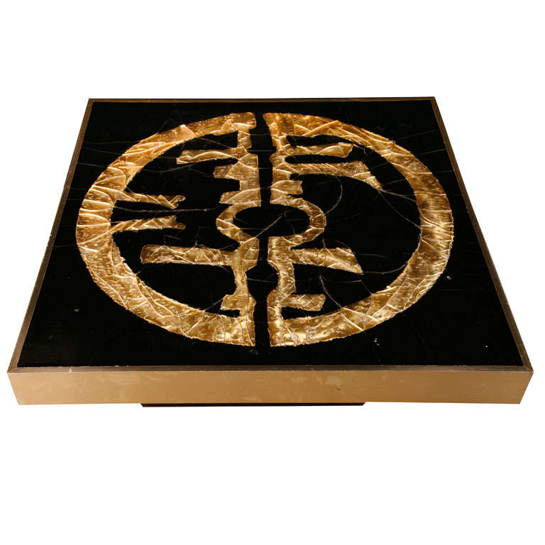 Floating Square Coffee Table In Green And Black Slatelike: Square Black Coffeetable With An Eclectic Sign In Gold At