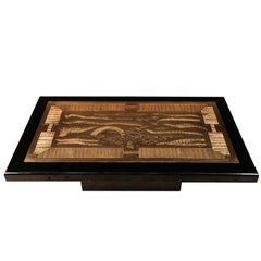 Etched brass artwork coffee table signed by Lova Creations
