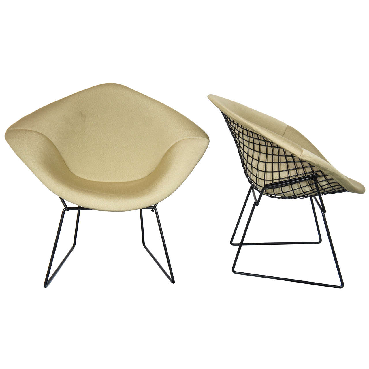 pair of harry bertoia diamond chairs with original. Black Bedroom Furniture Sets. Home Design Ideas