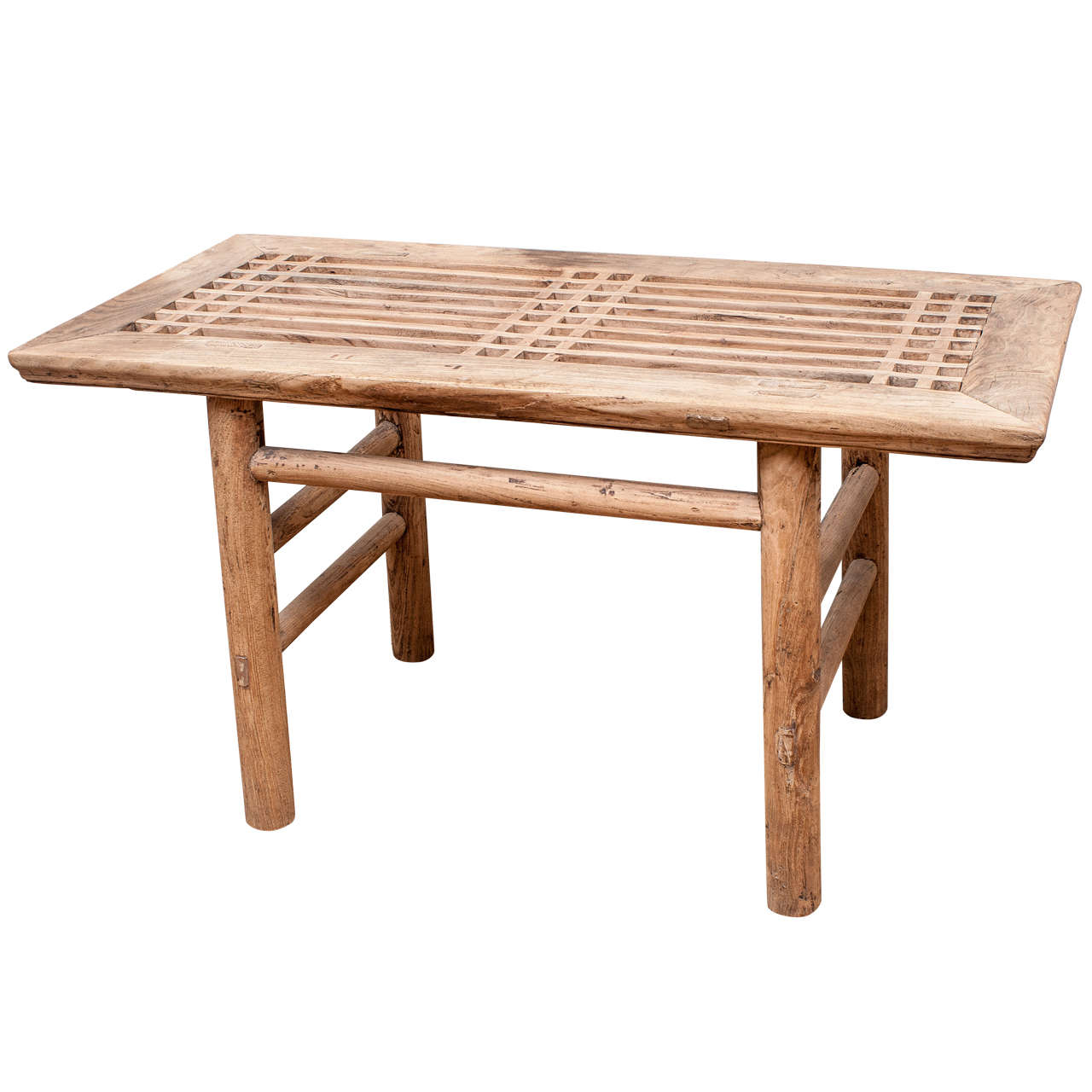 Bleached Lattice Top Low Table At 1stdibs