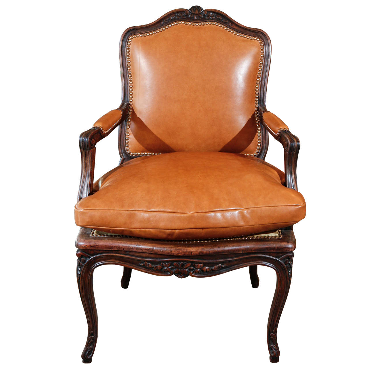 French louis xv leather arm chair at 1stdibs - Second hand egg chair ...