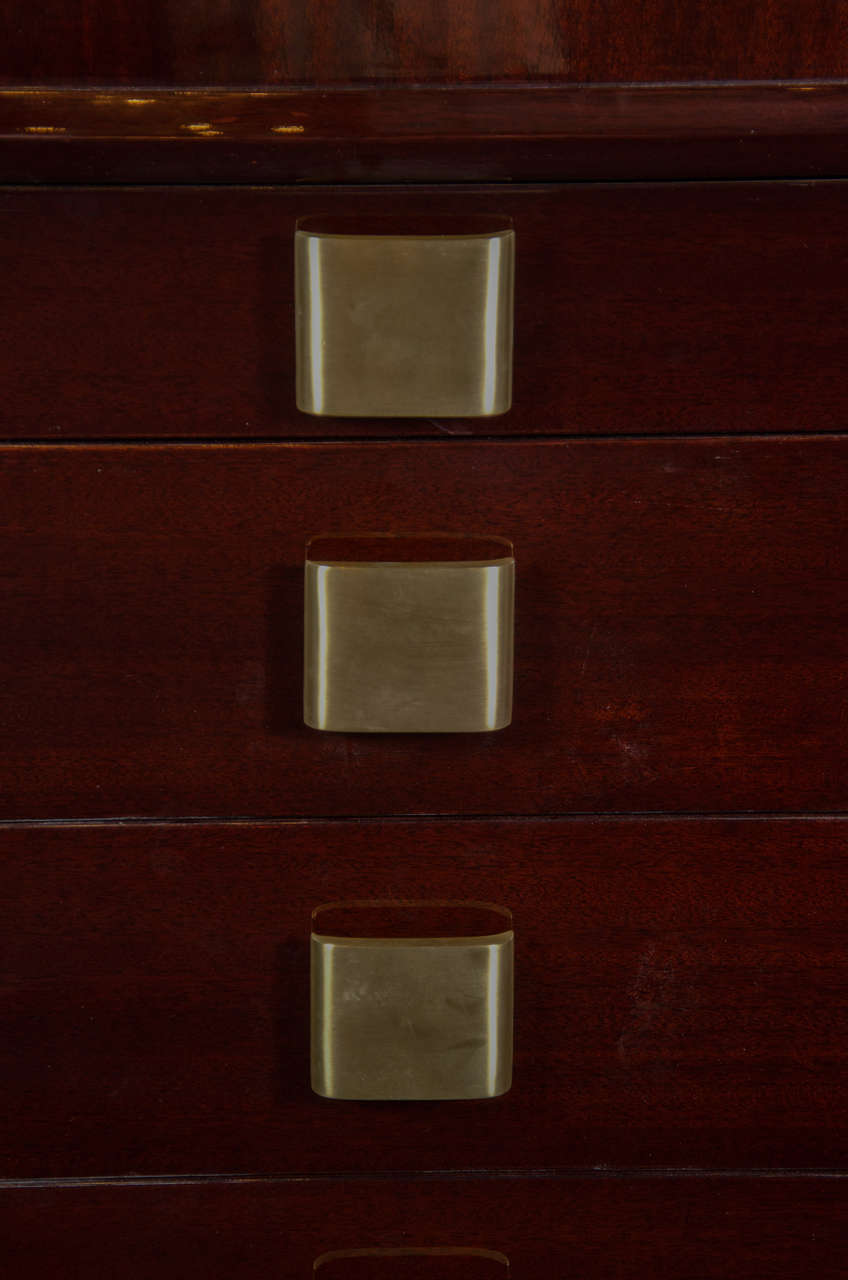 Sophisticated Mid-Century Modern High Chest with Brushed Brass Pulls 3