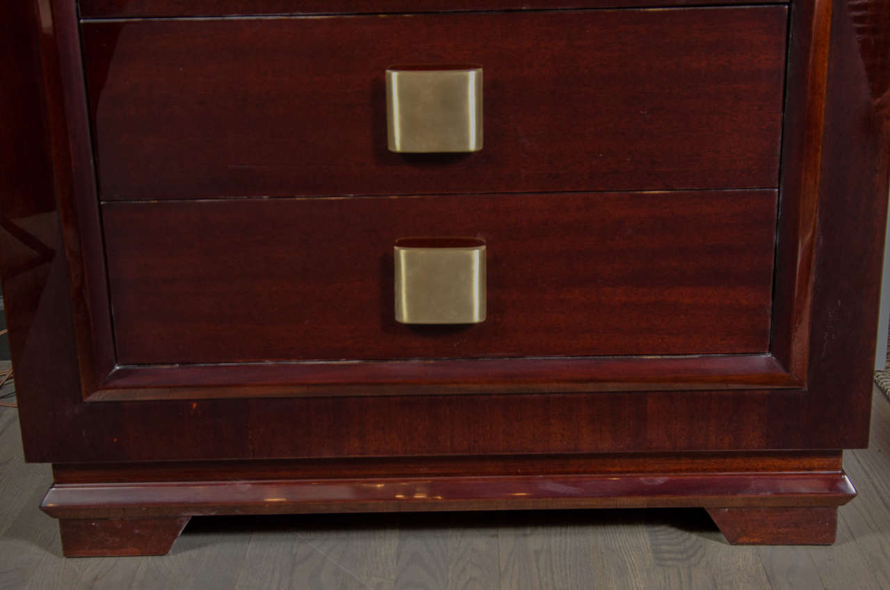 Sophisticated Mid-Century Modern High Chest with Brushed Brass Pulls 4