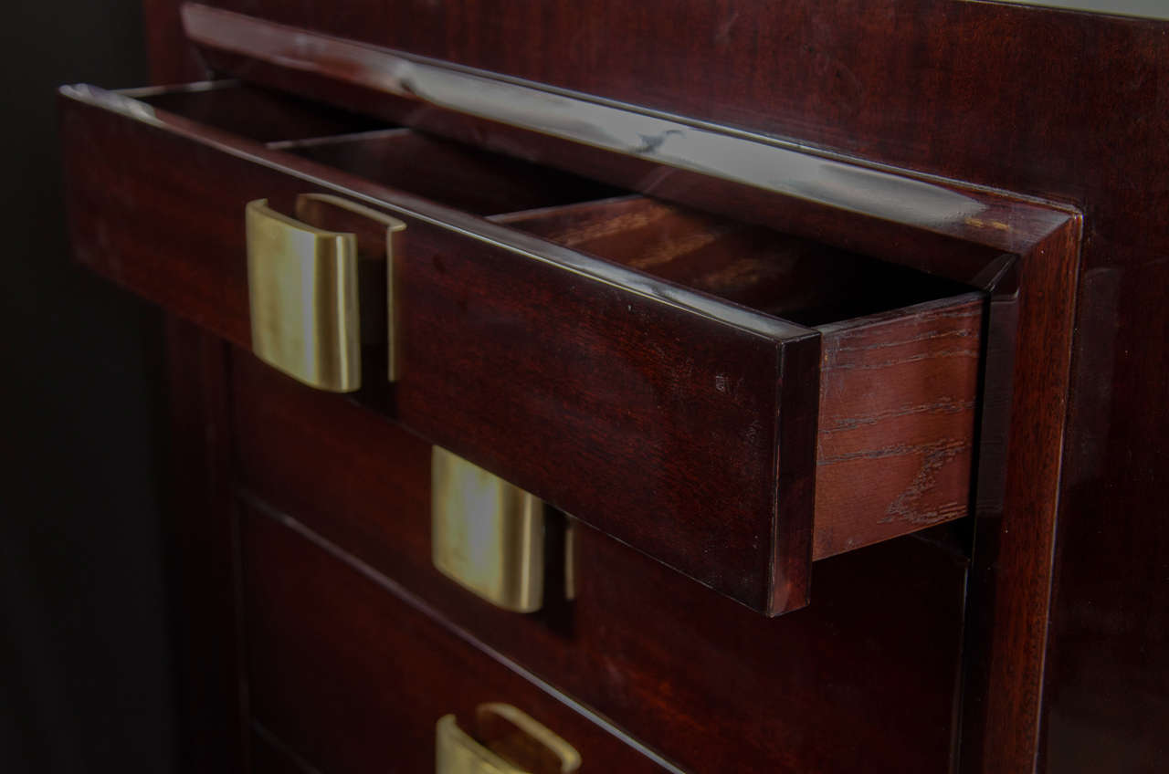 Sophisticated Mid-Century Modern High Chest with Brushed Brass Pulls 7