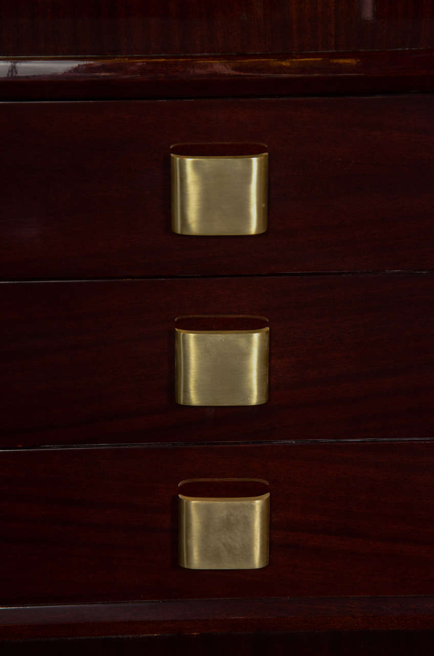 American Pair of Outstanding Mid-Century Modern Chests with Brushed Brass Pulls For Sale