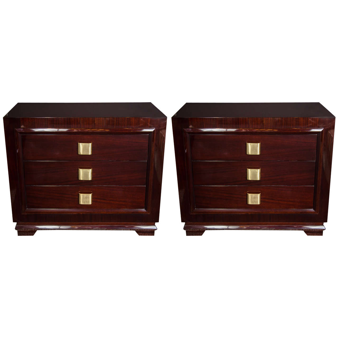 Pair of Outstanding Mid-Century Modern Chests with Brushed Brass Pulls For Sale