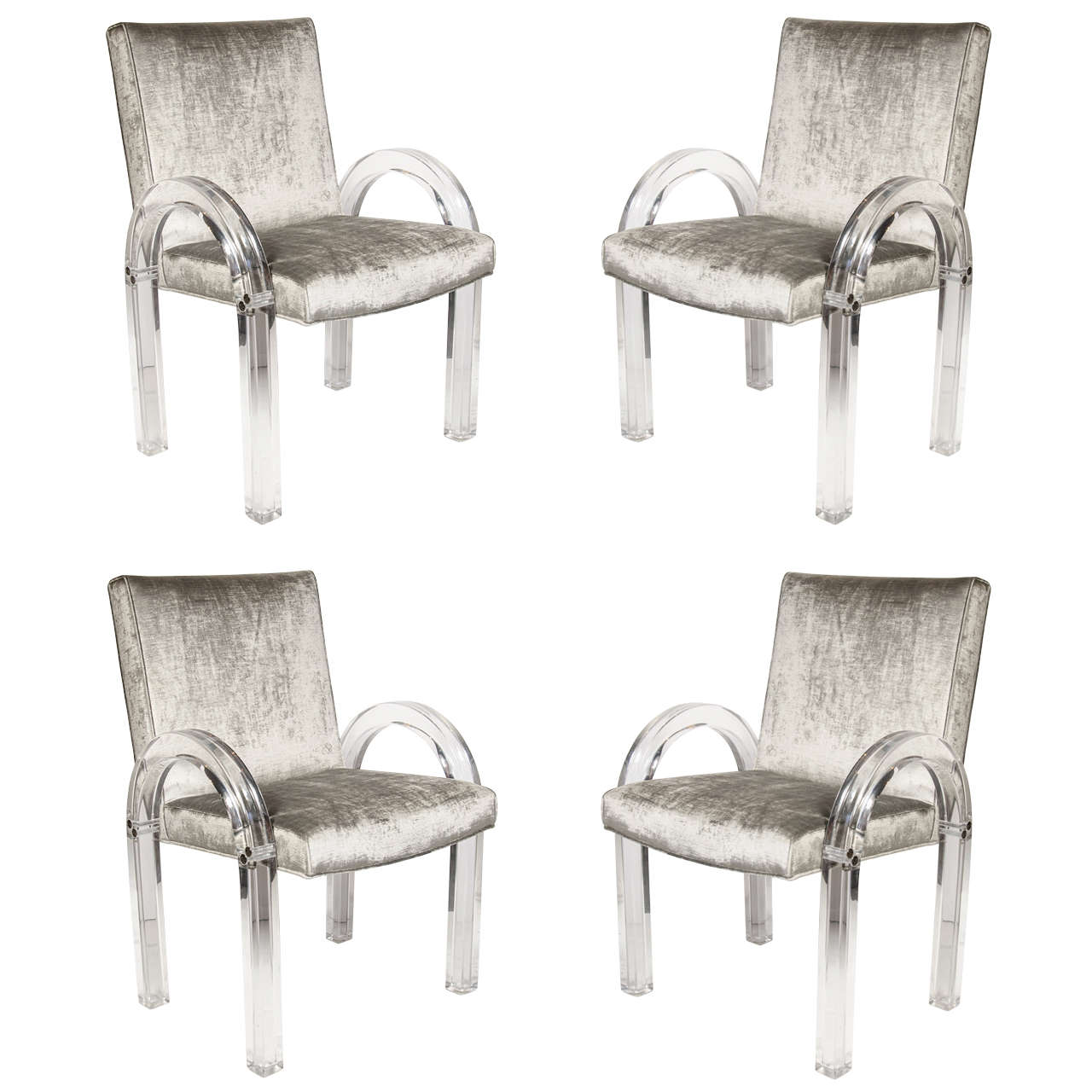 Set of four 39 u 39 shaped lucite dining chairs by charles for Perspex furniture