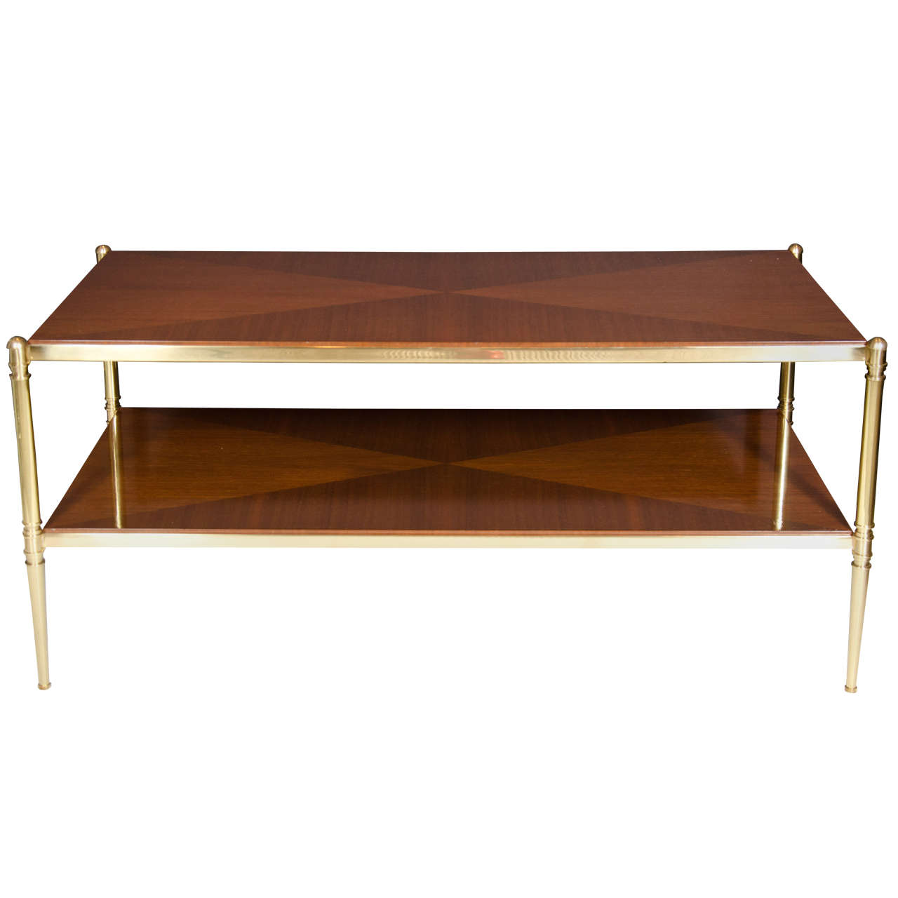 Elegant Brass And Glass Coffee Table: Elegant Book Matched Walnut And Brass Cocktail Table By