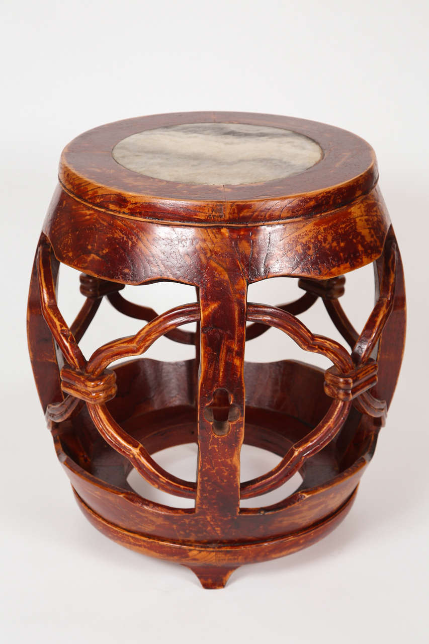 Wood and marble garden stools at stdibs