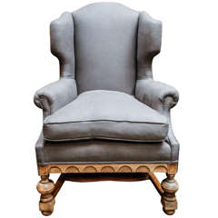 English Wing Chair in Bleached Oak, Circa 1880