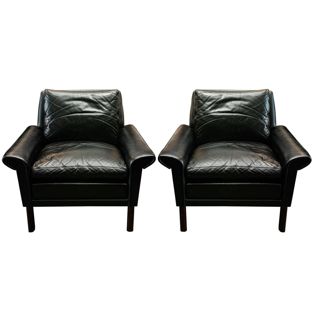 Mid century modern danish leather arm chairs for Mid century modern leather chairs