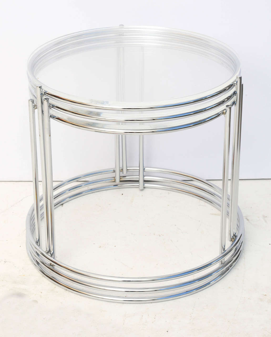 Set of three saporiti style nesting tables in polished chrome and modern set of three saporiti style nesting tables in polished chrome and lucite for sale watchthetrailerfo