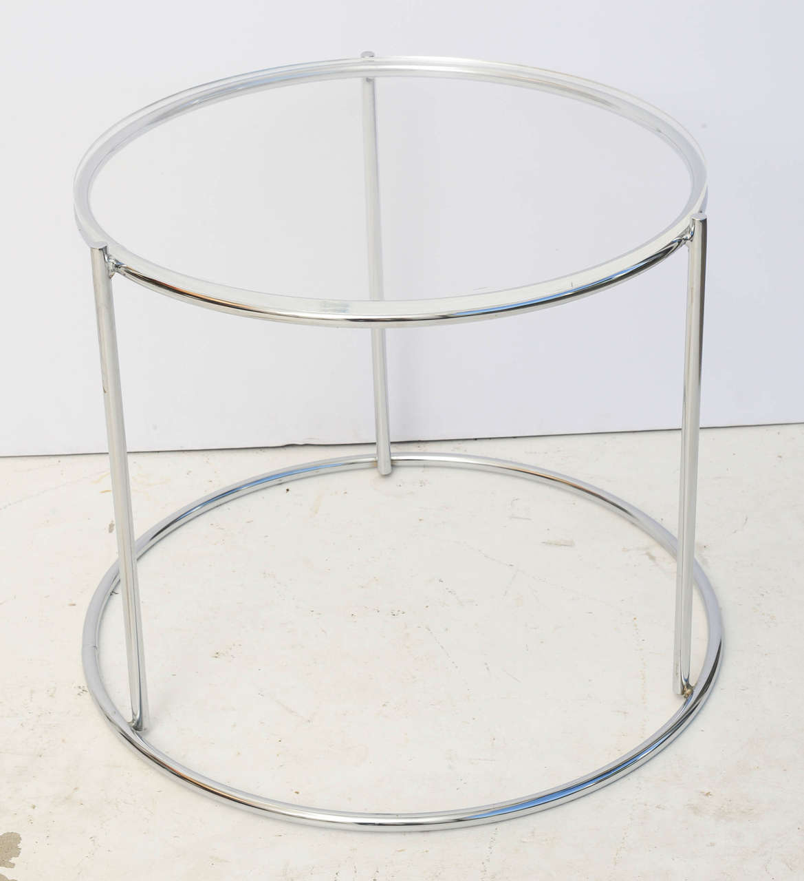 Set of Three Drum Shaped Nesting Tables 9