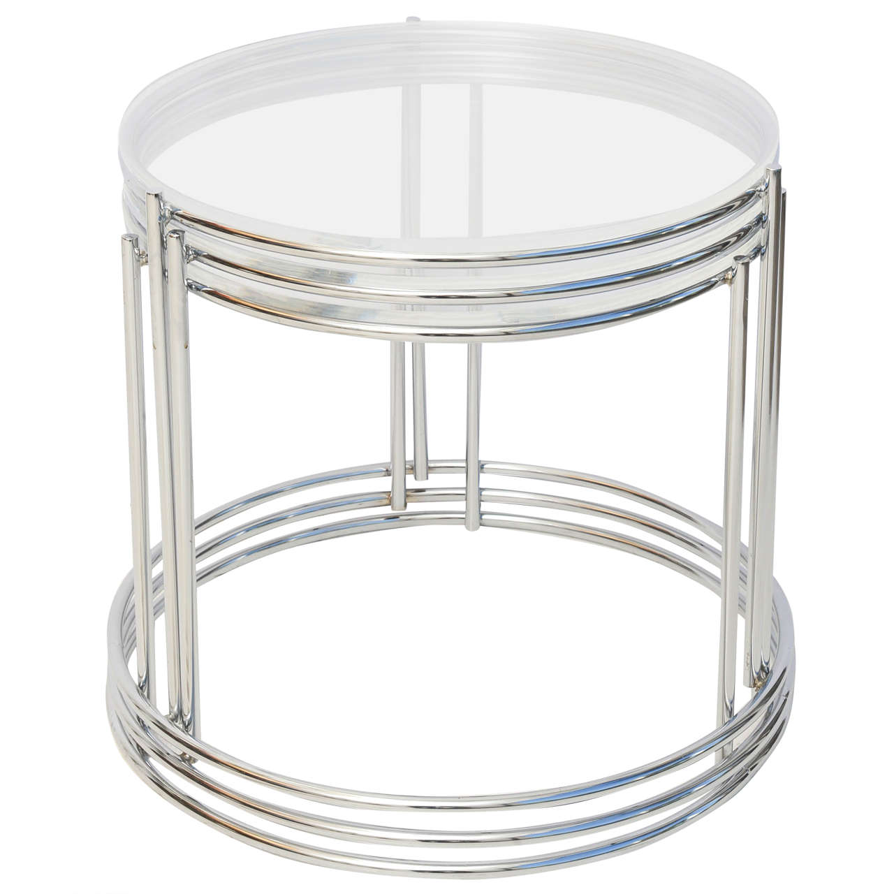 Set of Three Drum Shaped Nesting Tables 2