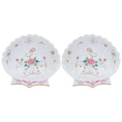 Pair of Small Chinese Famille Rose Porcelain Shell Dishes Made circa 1785