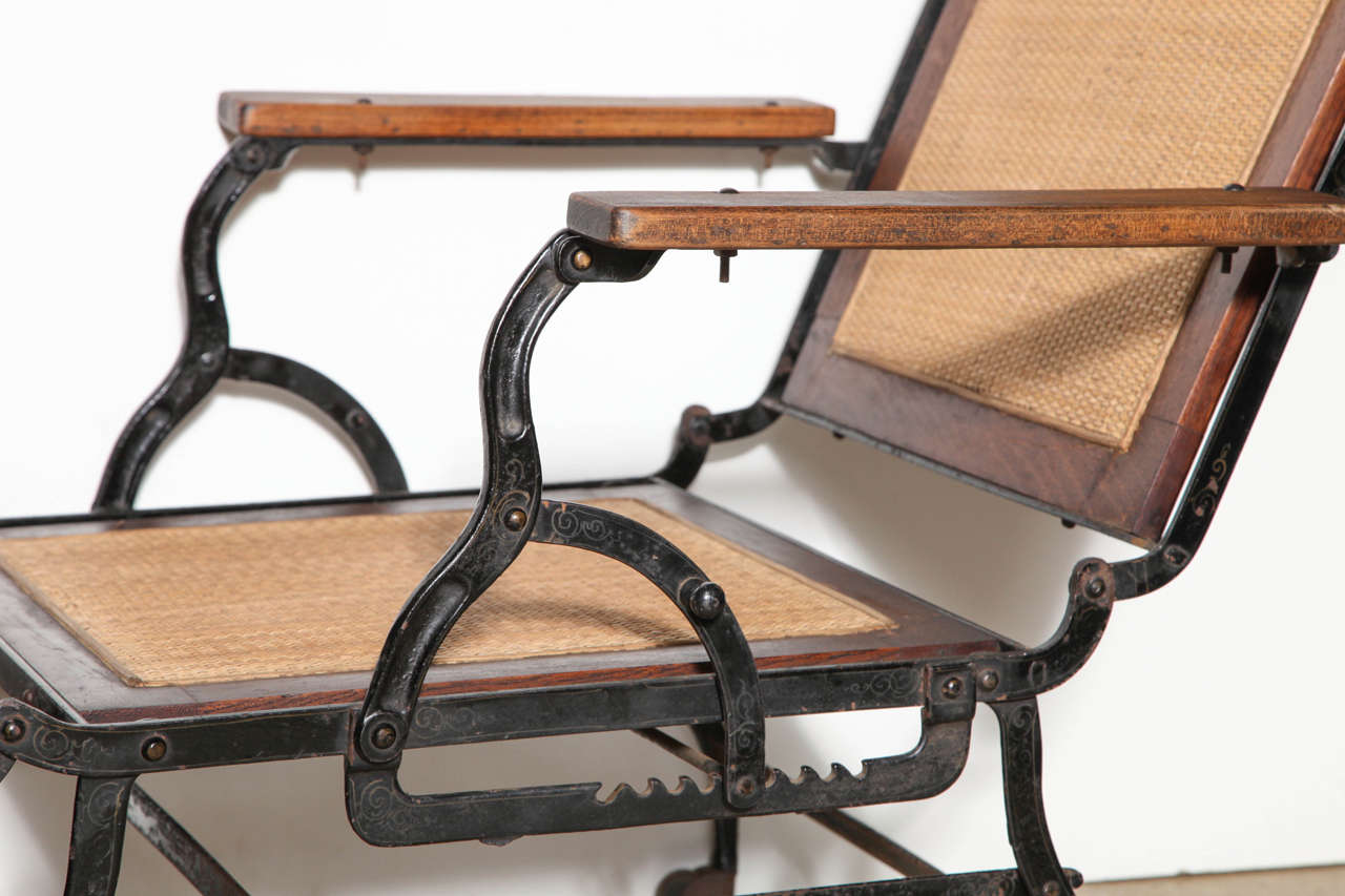 Late Victorian Cevedra Sheldon Walnut, Cane & Cast Iron Rolling Chaise Lounge Chair, C. 1876 For Sale