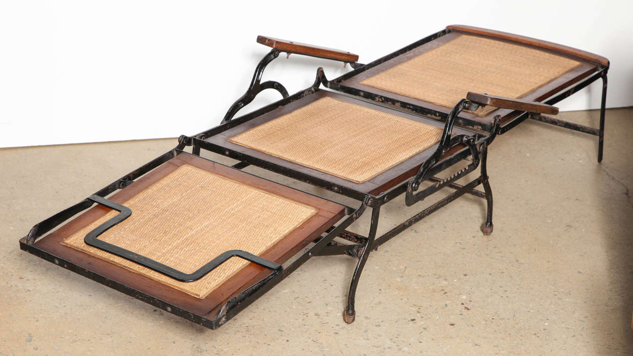Cevedra Sheldon Rolling Walnut Cane And Cast Iron Chaise