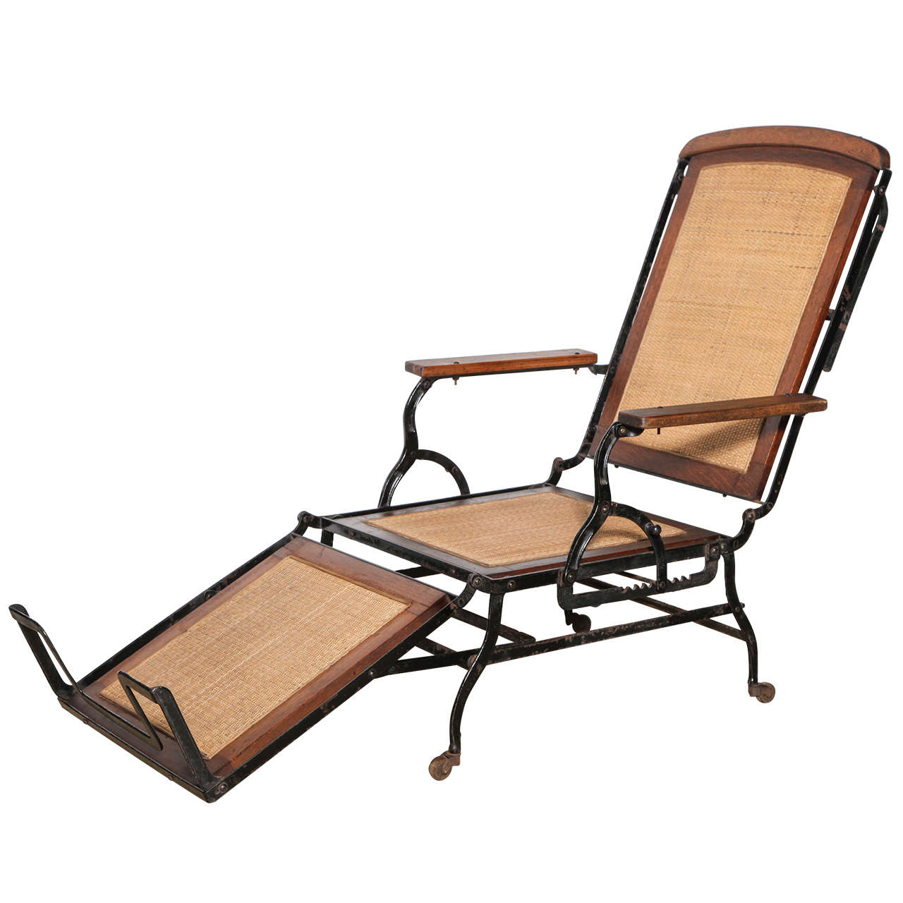 Circa 1876 Rolling Walnut, Cane And Black Cast Iron Chaise Lounge Chair 1