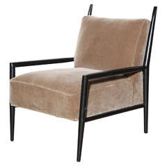 Paul McCobb 3082 E Planner Group Ebonized Lounge Chair In Taupe Mohair,  1950s For Sale At 1stdibs