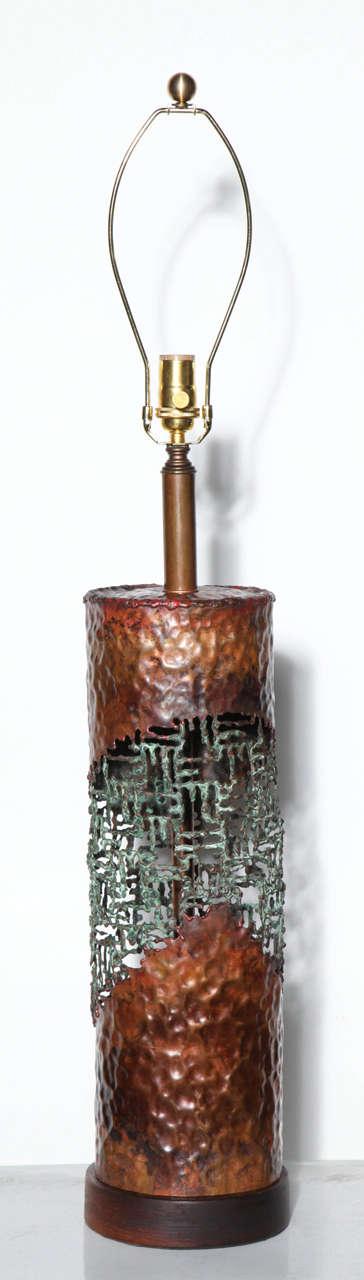 1950 39 s marcello fantoni for raymor brutalist torch cut copper table lamp for sale at 1stdibs. Black Bedroom Furniture Sets. Home Design Ideas