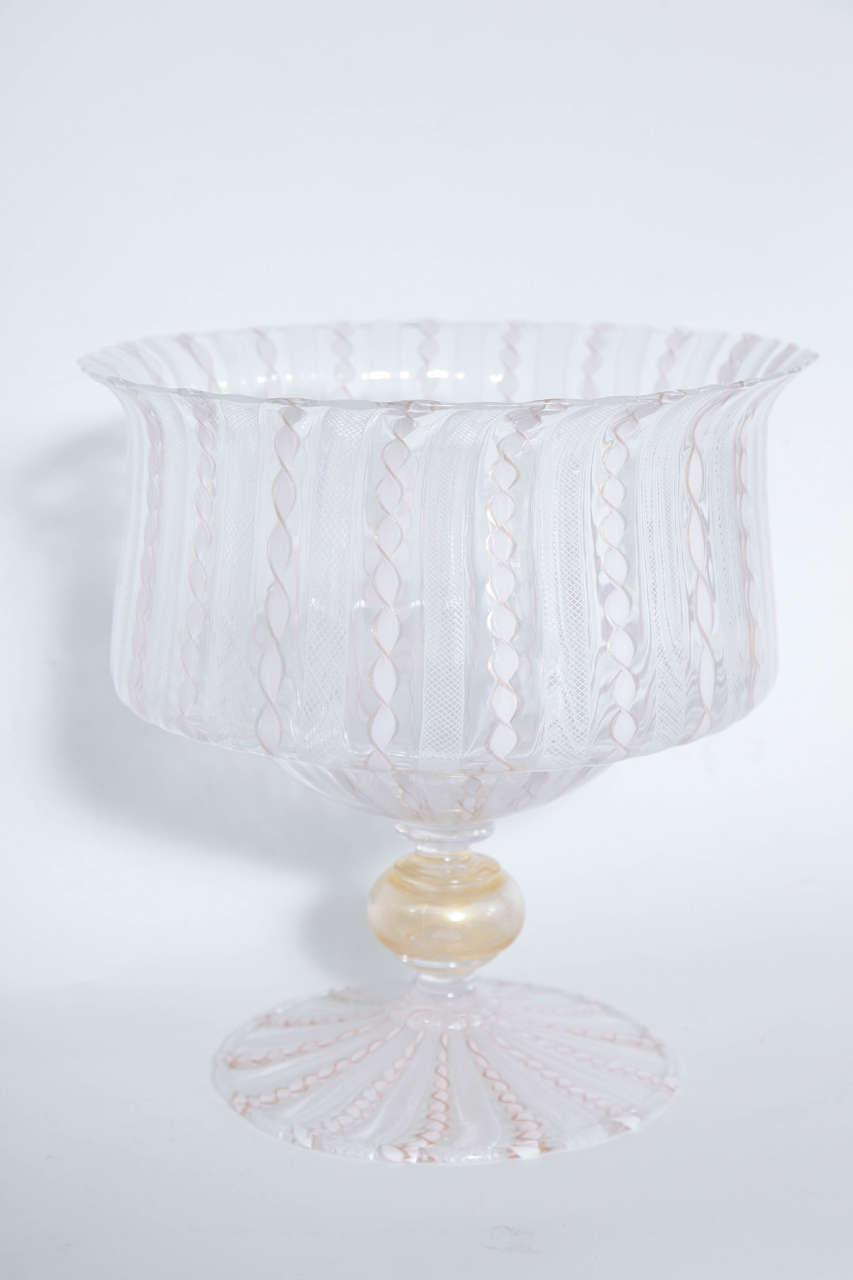 venetian glass pedestal bowl at 1stdibs. Black Bedroom Furniture Sets. Home Design Ideas