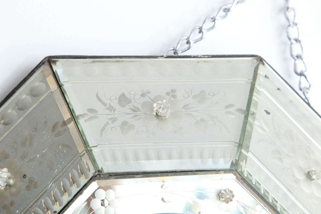 Unknown Mirrored Hexagonal Bevelled Floral Etched Clock For Sale