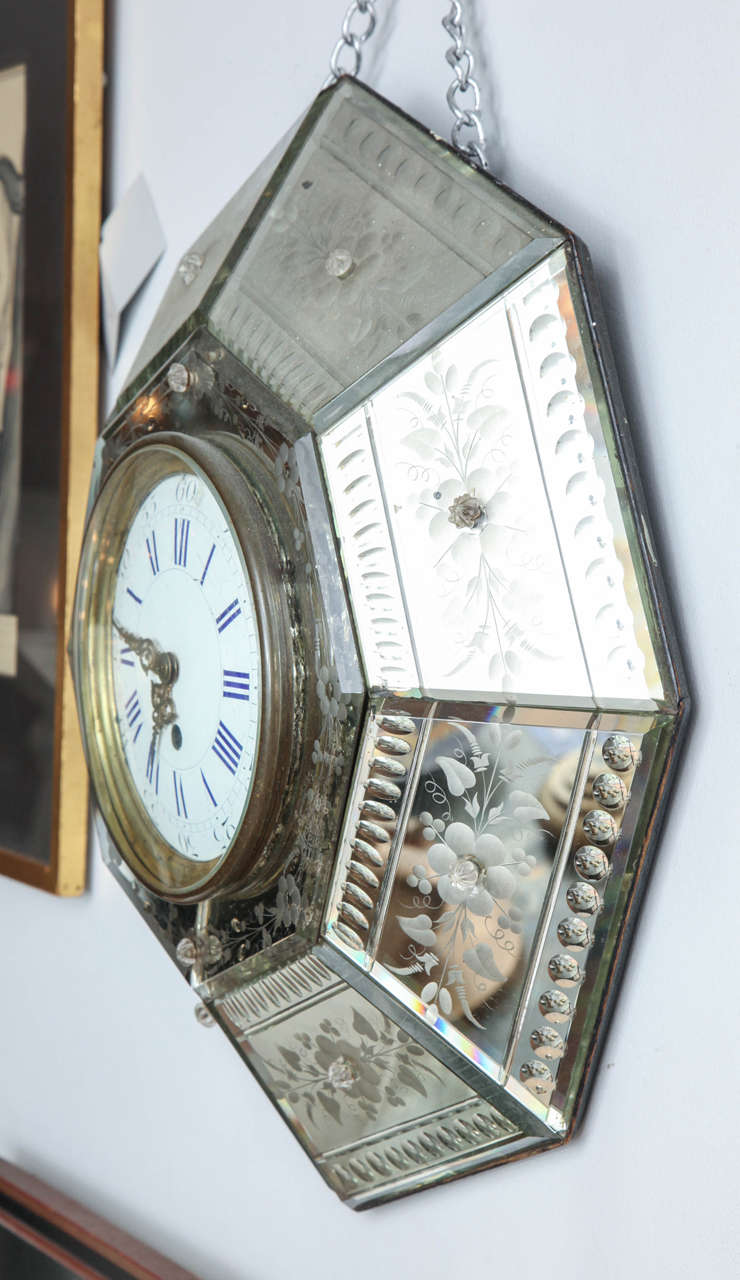 20th Century Mirrored Hexagonal Bevelled Floral Etched Clock For Sale