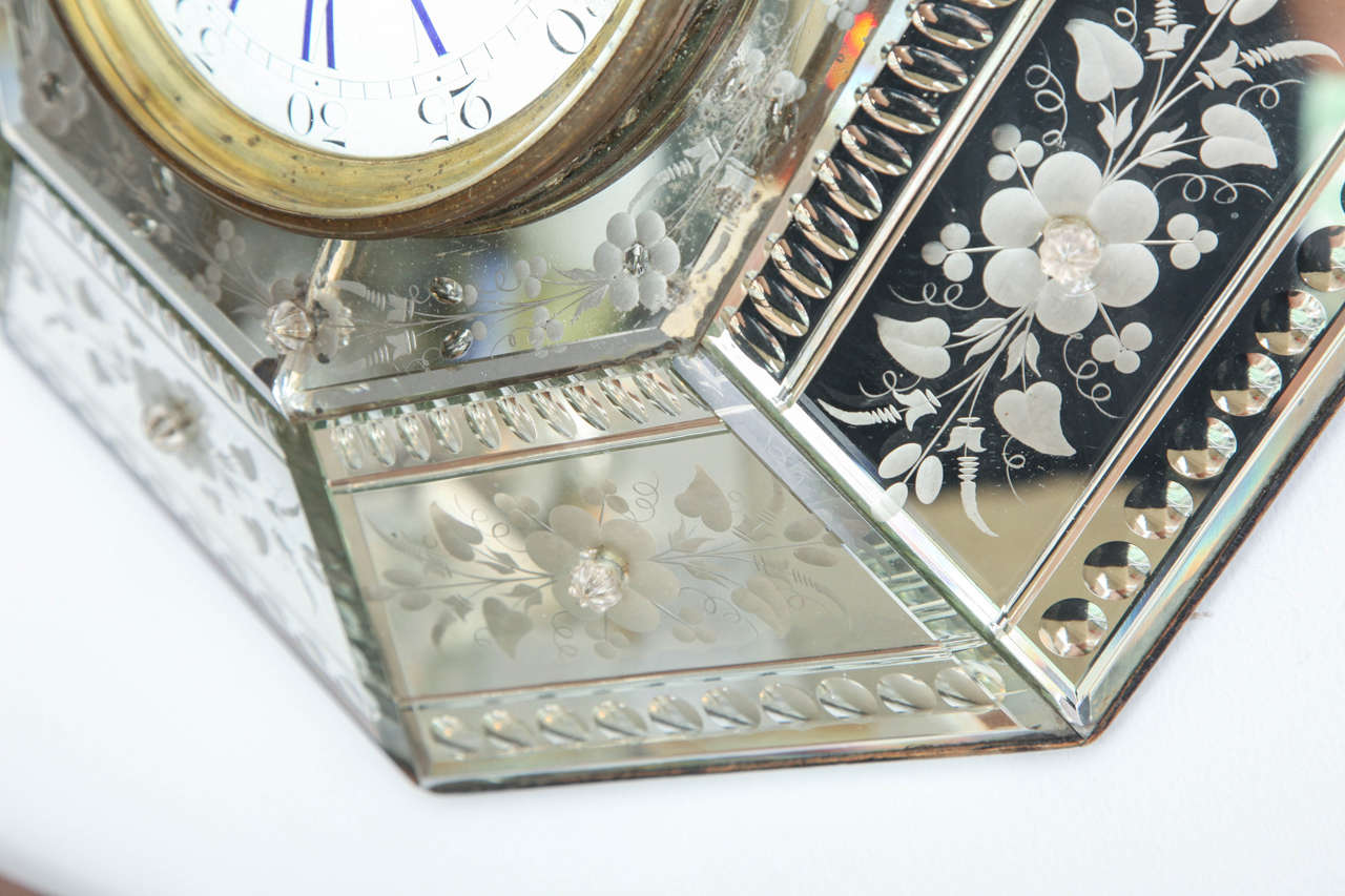 Mirrored Hexagonal Bevelled Floral Etched Clock For Sale 2