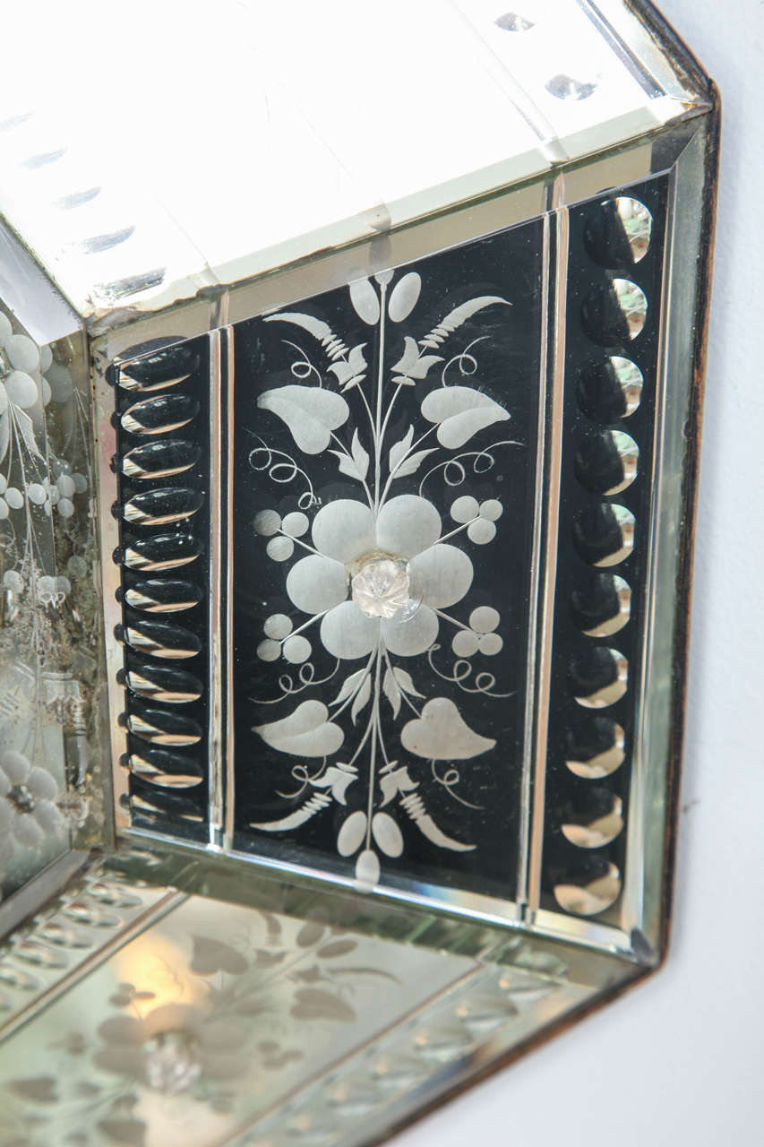 Mirrored Hexagonal Bevelled Floral Etched Clock For Sale 3