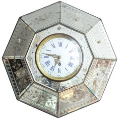 Mirrored Hexagonal Bevelled Floral Etched Clock