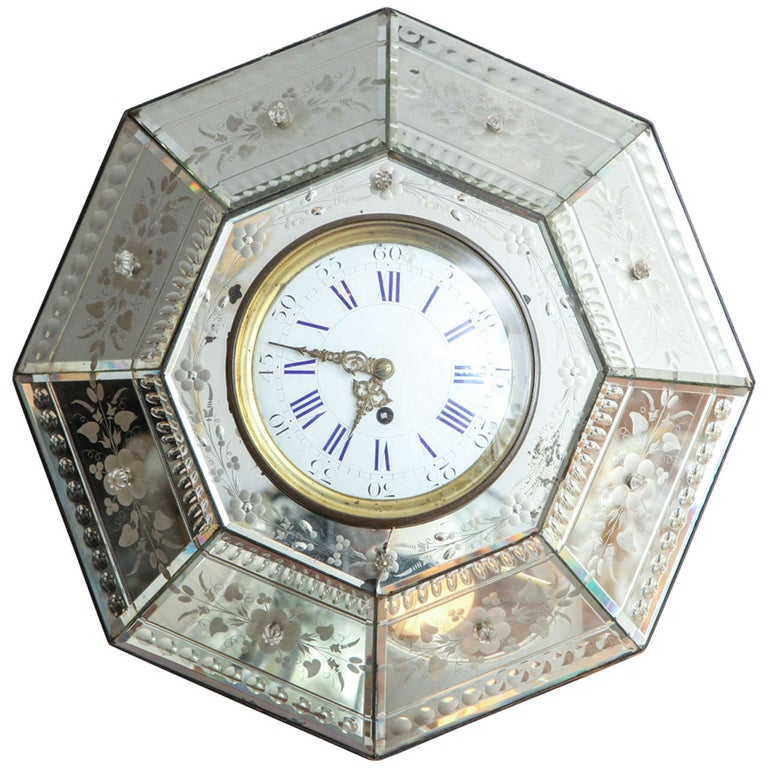 Mirrored Hexagonal Bevelled Floral Etched Clock For Sale