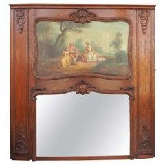 French Regence Walnut Trumeau Mirror
