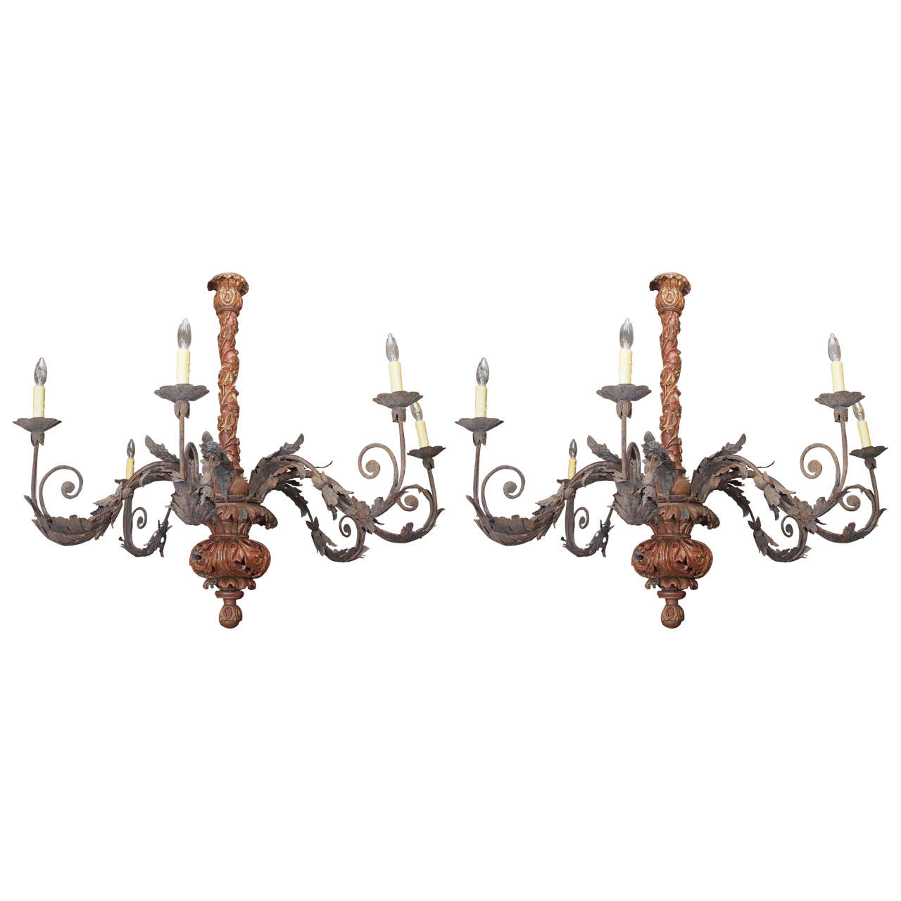 Pair of Carved Tuscan Carved Wood and Iron Chandelier
